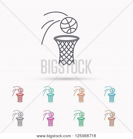 Basketball icon. Basket with ball sign. Professional sport equipment symbol. Linear icons on white background.
