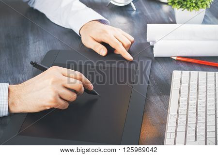 Male Hands Graphic Tablet