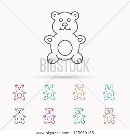 Teddy-bear icon. Baby toy sign. Plush animal symbol. Linear icons on white background.