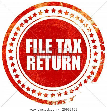 file tax return, isolated red stamp on a solid white background