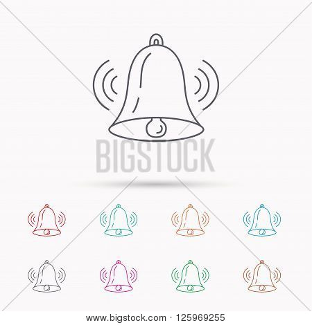 Ringing bell icon. Sound sign. Alarm handbell symbol. Linear icons on white background.