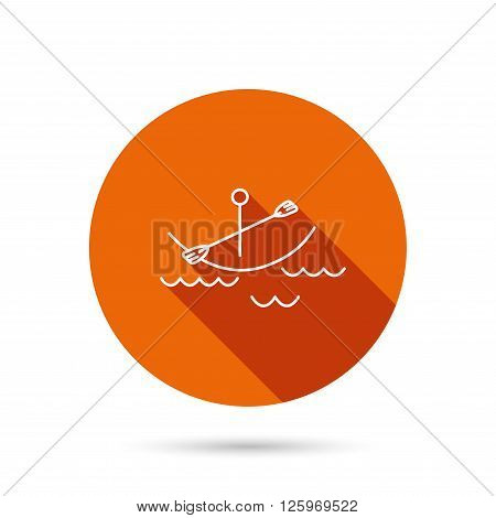Kayaking on waves icon. Boating or rafting sign. Canoeing extreme sport symbol. Round orange web button with shadow.