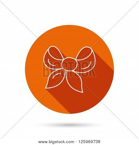 Gift bow icon. Present decoration sign. Ribbon for packaging symbol. Round orange web button with shadow.