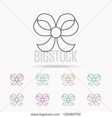 Bow icon. Gift bow-knot sign. Linear icons on white background.