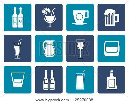Flat different kind of drink icons - vector icon set