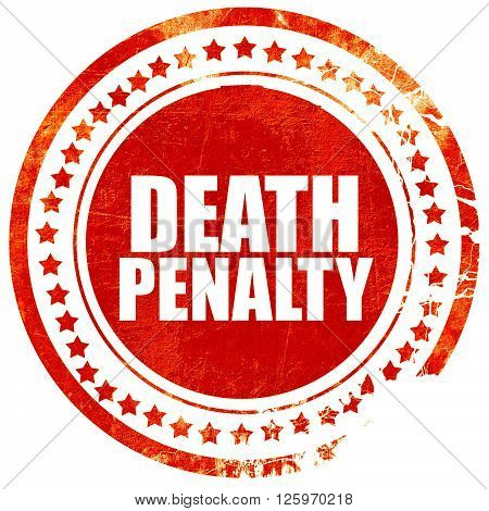death penalty, isolated red stamp on a solid white background