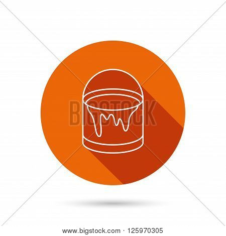 Bucket of paint icon. Painting box sign. Round orange web button with shadow.