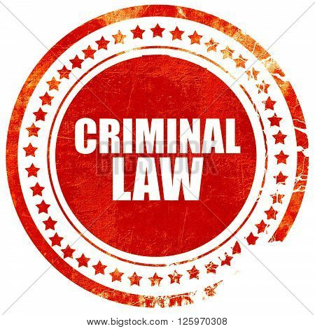 criminal law, isolated red stamp on a solid white background