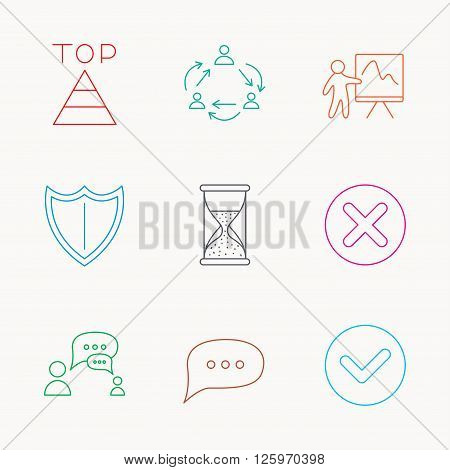 Teamwork, presentation and dialog icons. Chat speech bubble, shield and pyramid linear signs. Check, delete and hourglass flat line icons. Linear colored icons.