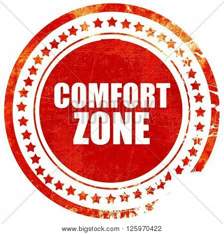 comfort zone, isolated red stamp on a solid white background