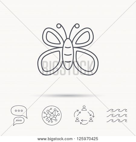 Butterfly icon. Flying lepidoptera sign. Dreaming symbol. Global connect network, ocean wave and chat dialog icons. Teamwork symbol.