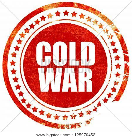 cold war, isolated red stamp on a solid white background