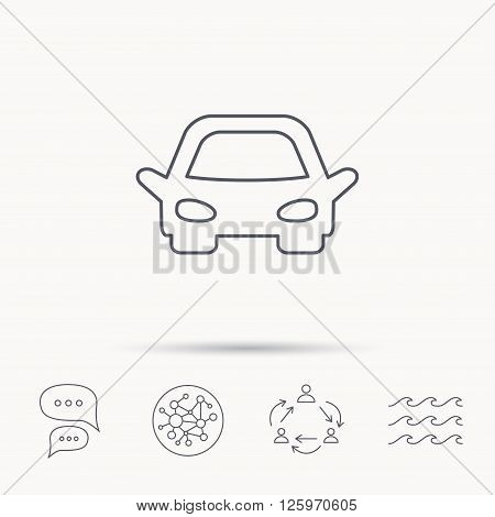 Car icon. Auto transport sign. Global connect network, ocean wave and chat dialog icons. Teamwork symbol.