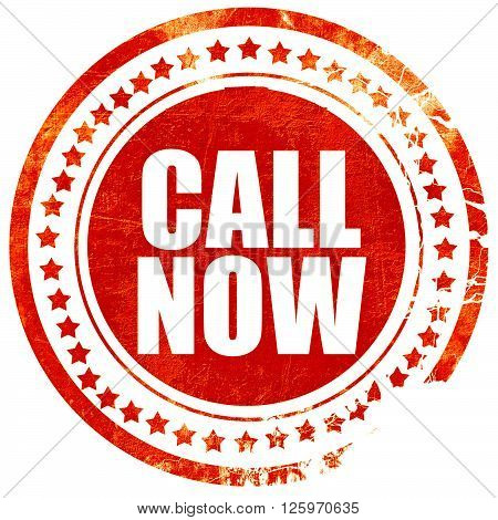 call now, isolated red stamp on a solid white background