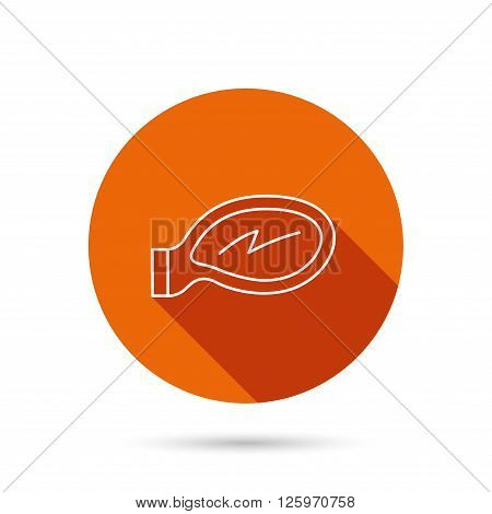 Car mirror icon. Driveway side view sign. Round orange web button with shadow.