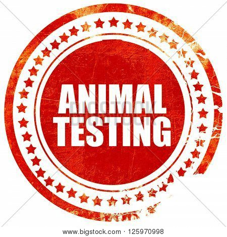 animal testing, isolated red stamp on a solid white background