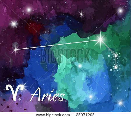 Aries horoscope star sign on hand painted watercolor abstract galaxy background. Vector graphic design elements. Purple violet green and blue astrology mystic illustration.