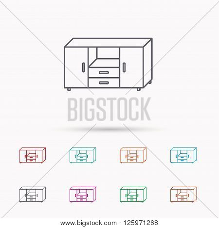 Chest of drawers icon. Interior commode sign. Linear icons on white background.
