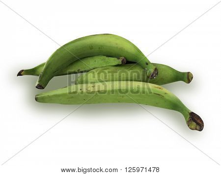 Plantain fruit on white