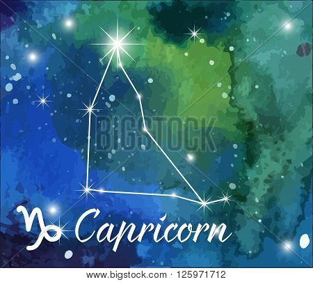 Capricorn horoscope star sign on hand painted watercolor abstract galaxy background. Vector graphic design elements. Green and blue astrology mystic illustration.