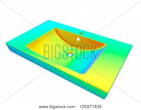 kitchen sink isolated on white background. easy to use. metall. Housework.  3D illustration, nobody
