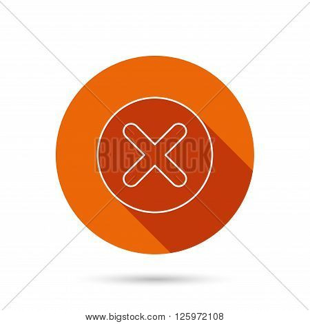 Delete icon. Decline or Remove sign. Cancel symbol. Round orange web button with shadow.