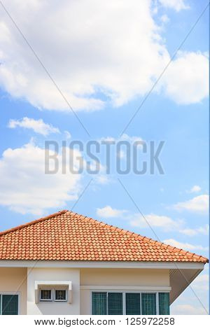 building a new roof of home blue sky as background