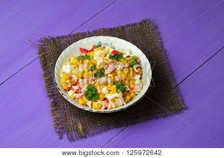 Crab Salad In A Plate On A Wooden Table.rustic Style