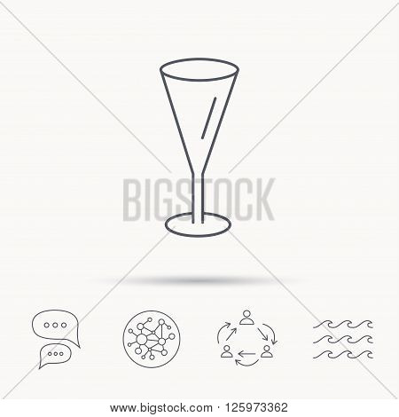 Champagne glass icon. Goblet sign. Alcohol drink symbol. Global connect network, ocean wave and chat dialog icons. Teamwork symbol.