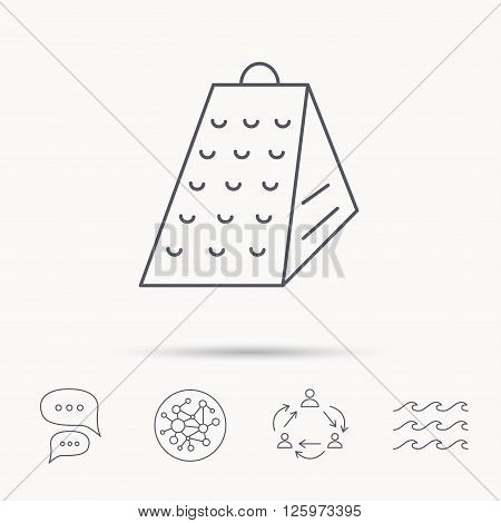 Grater icon. Kitchen tool sign. Kitchenware slicer symbol. Global connect network, ocean wave and chat dialog icons. Teamwork symbol.