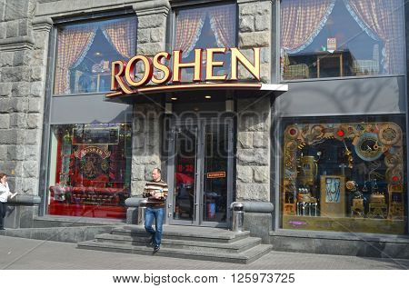 The brand store. Roshen company is producer of sweets and chocolate. The company is controlled by the president of Ukraine Pedro Poroshenko.At April 8,2016 in Kiev, Ukraine