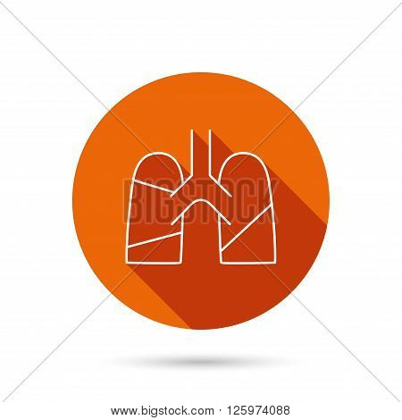 Lungs icon. Transplantation organ sign. Pulmology symbol. Round orange web button with shadow.