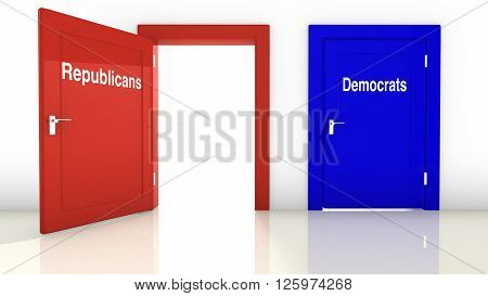 3D illustration of the election in the USA with a red open door for the republicans and a blue closed door for the democrats