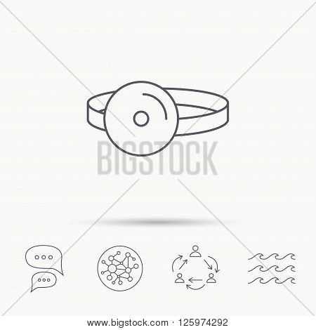 Medical mirror icon. ORL medicine sign. Otorhinolaryngology diagnosis tool symbol. Global connect network, ocean wave and chat dialog icons. Teamwork symbol.