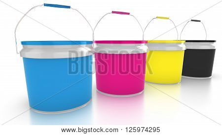 Four paint buckets closed with the CMYK color palette 3D illustration