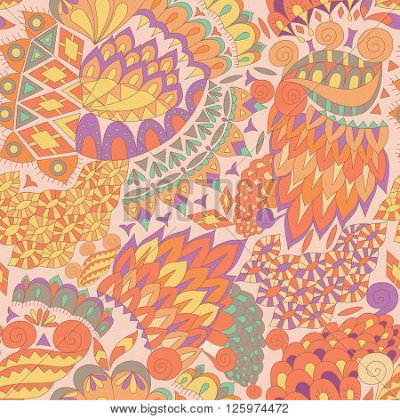 Vintage Ethnic Seamless Background. Boho Pattern. Color Abstract Ornament. Vector Decorative Background for Fabric.