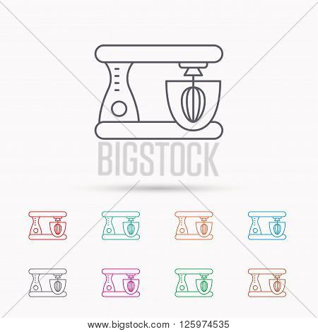Mixer icon. Electric blender sign. Linear icons on white background.
