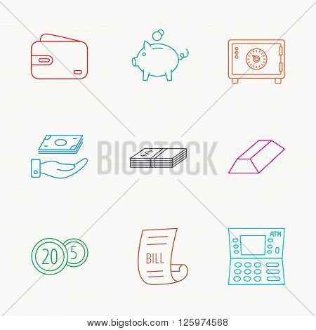 Piggy bank, cash money and wallet icons. Safe box, gold bar and dollar usd linear signs. Bill, coins and ATM icons. Linear colored icons.