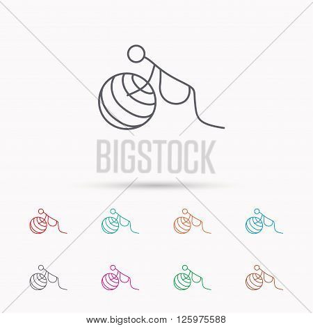 Gymnastic for pregnant icon. Pilates fitness sign. Sport workout symbol. Linear icons on white background.