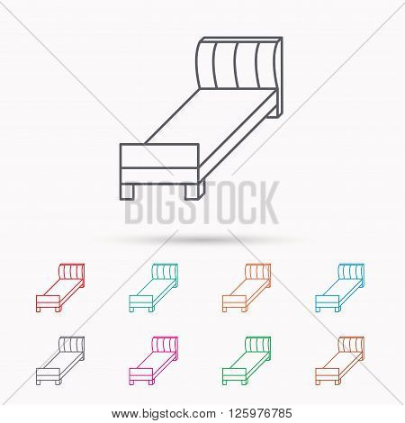 Single bed icon. Bedroom furniture sign. Linear icons on white background.