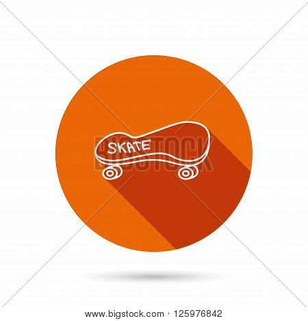 Skateboard icon. Skating sport sign. Skate with wheels symbol. Round orange web button with shadow.