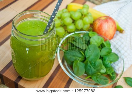 Green Smoothie with Healthy Fruit and Vegetable Ingredients