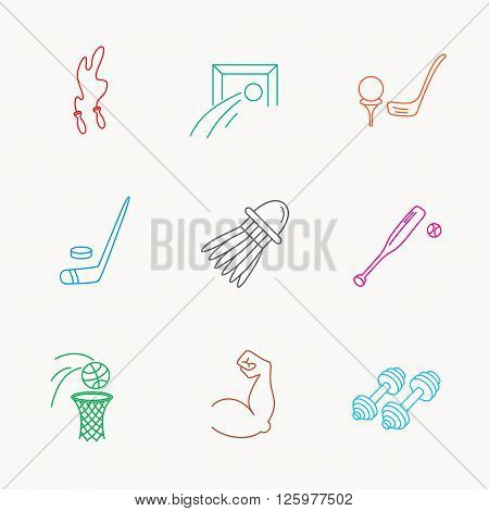 Skipping rope, football and golf icons. Hockey, baseball and badminton linear signs. Basketball, biceps and fitness sport icons. Linear colored icons.