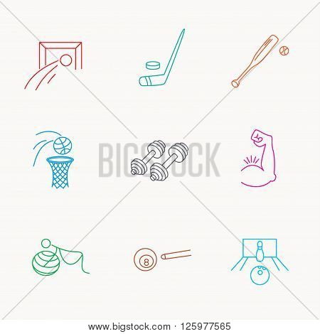 Football, ice hockey and fitness sport icons. Basketball, muscle and bowling linear signs. Billiards and gymnastics for pregnant icons. Linear colored icons.