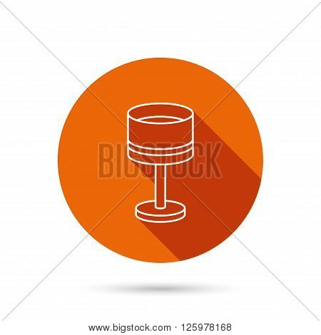 Table lamp icon. Desk light sign. Round orange web button with shadow.