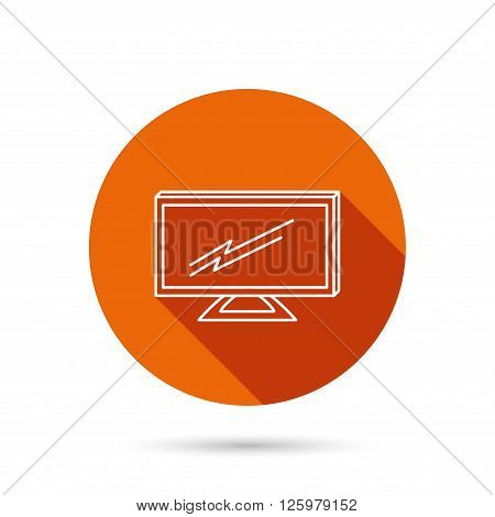 Lcd tv icon. Led monitor sign. Widescreen display symbol. Round orange web button with shadow.