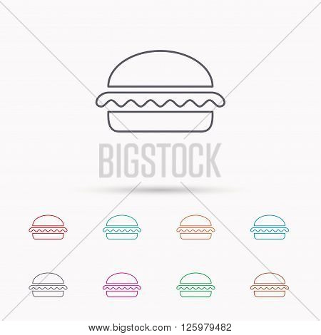 Vegetarian burger icon. Healthy fast food sign. Burger symbol. Linear icons on white background.