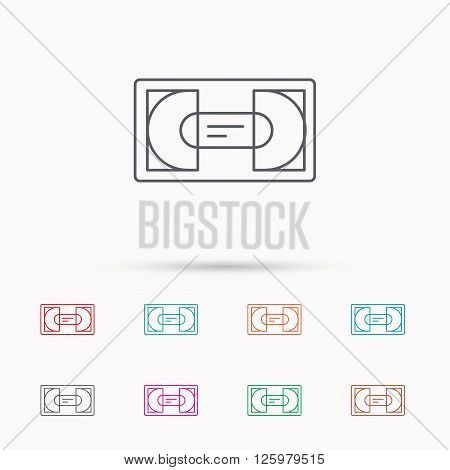 Video cassette icon. VHS tape sign. Linear icons on white background.