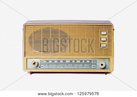 Old vintage radio from 1970 isolated on white background retro style