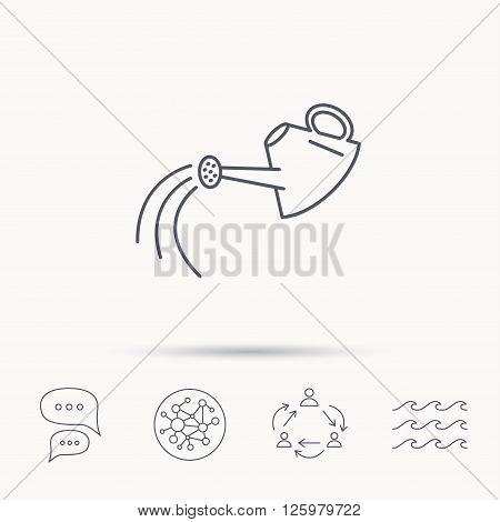 Watering can icon. Gardener equipment sign symbol. Global connect network, ocean wave and chat dialog icons. Teamwork symbol.